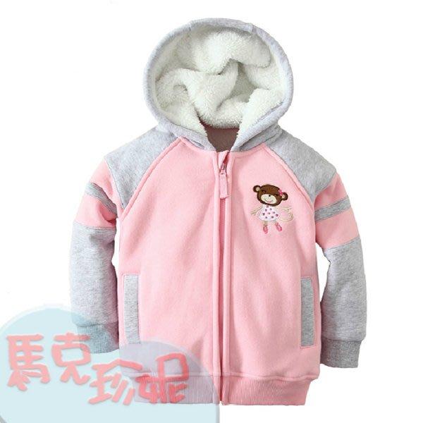馬克珍妮~【C4028】 mom and bab粉色猴子刷毛外套