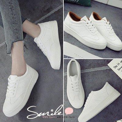 【V8116】SMILE-百搭小白.韓版白色厚底板鞋平底休閒布鞋