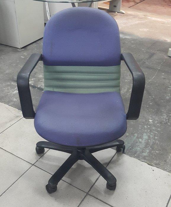 樂居二手家具 全新中古傢俱家電賣場 C0110CJ 藍色布面扶手辦公椅*OA椅 電腦椅 洽談椅 2手各式桌椅出清拍賣