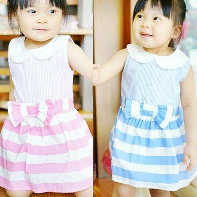 【班比納精品童裝氣質條紋拼接蝴蝶結圓領背心洋裝(後拉鍵)-粉/藍-二色可選【BO16070702】