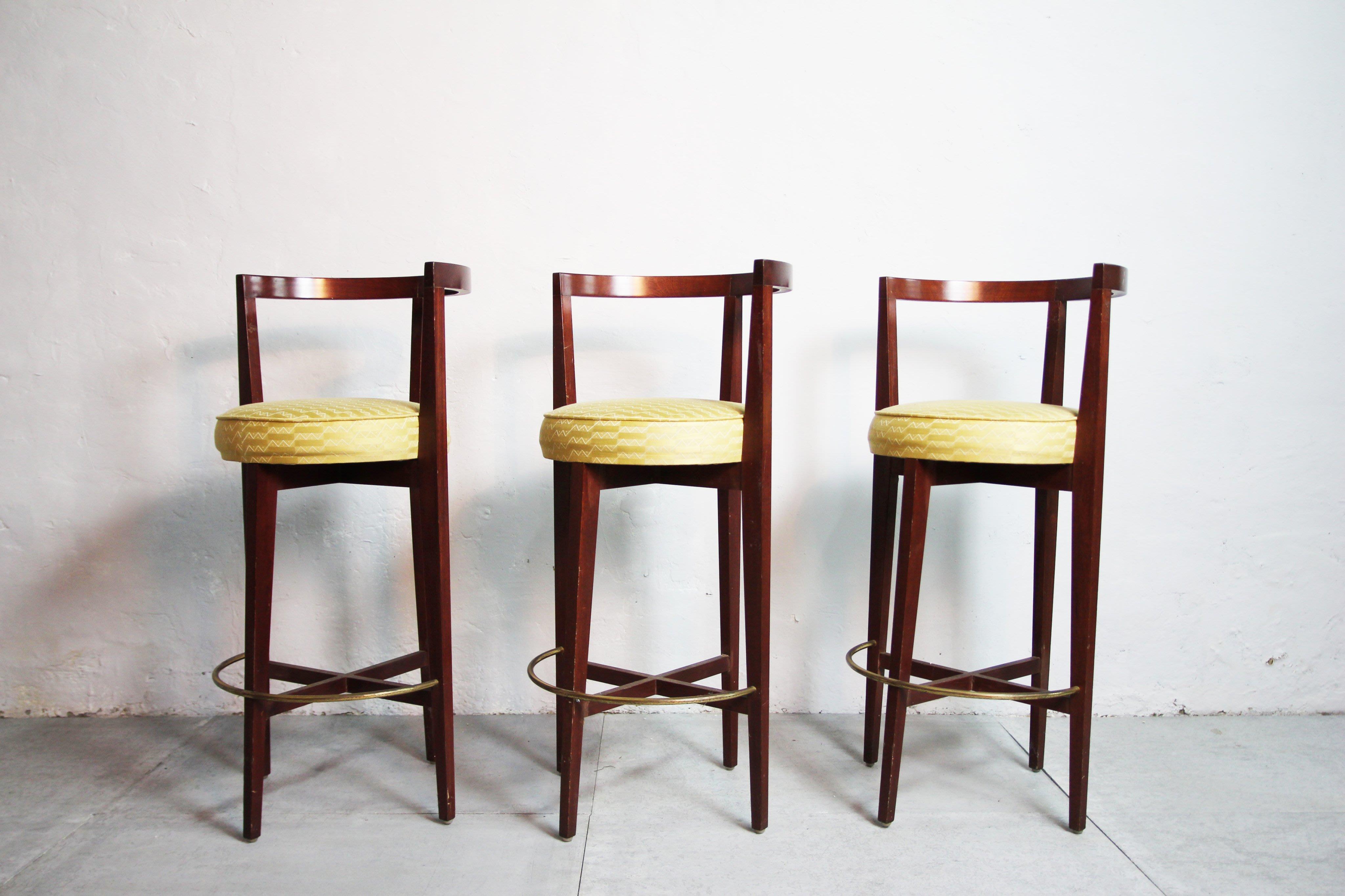 Art deco 實木布面高腳銅環吧台椅 x8張