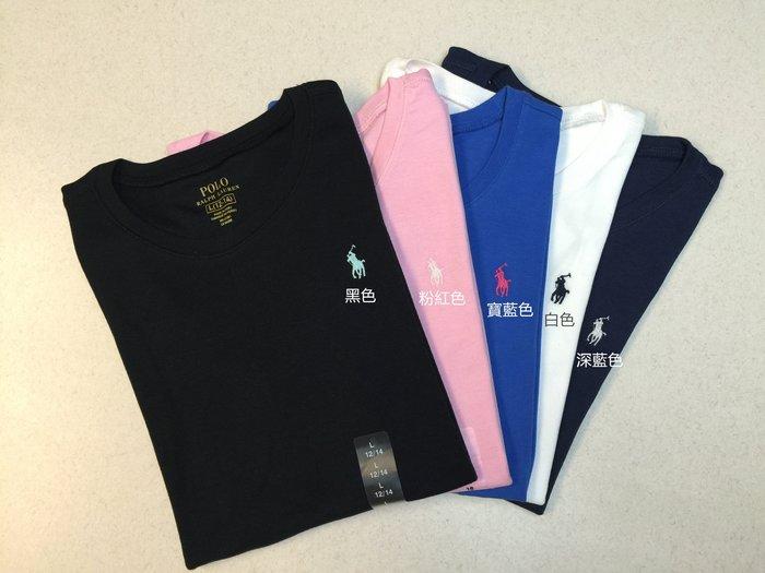 【Polo Ralph Lauren】RL 女生 大女童 基本款 圓領素面短袖T恤 刺繡小馬 素面短t 棉T