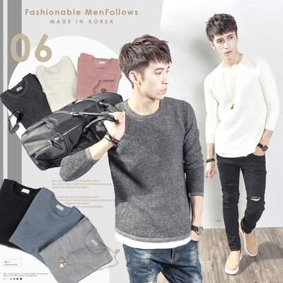 。SW。【K11396】正韓 韓國製 修身 細緻觸感佳 防皺 挺實彈性針織 素面紋路 圓弧下擺 圓領針織衫毛衣長袖T