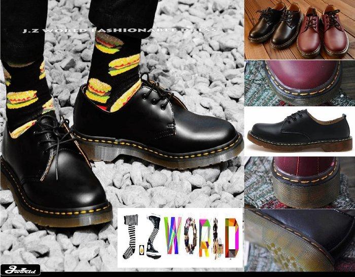[ j.z world 小版男裝 ] 獨家預購款 GD英式龐克 馬汀造型圓頭綁帶硬皮設計 低筒皮鞋/增高牛津厚底鞋 2色