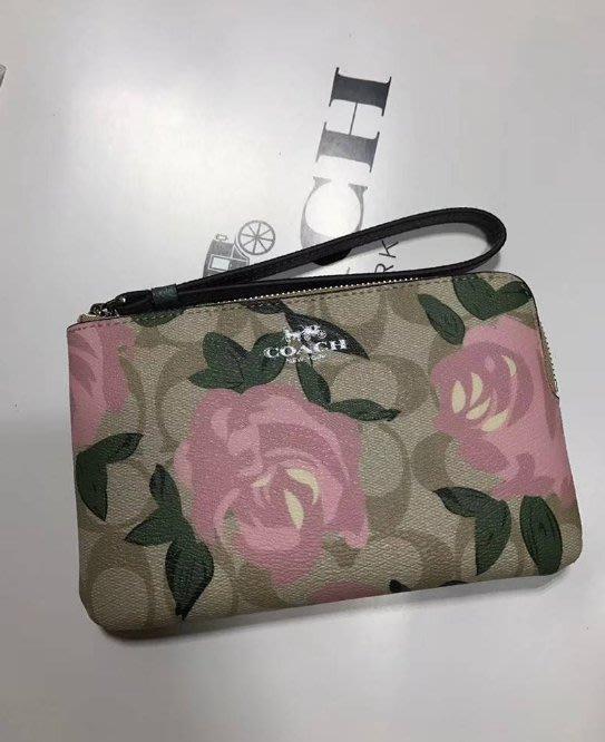 我愛名牌COACH包·美國100%正品【清倉低價出售購買兩件免運】26291新款花朵LOGOPVC防刮拉鏈零錢包 手拿包