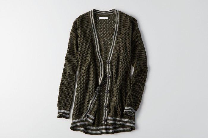 Maple麋鹿小舖 American Eagle ~ AE 深綠色針織長版外套 ~   S