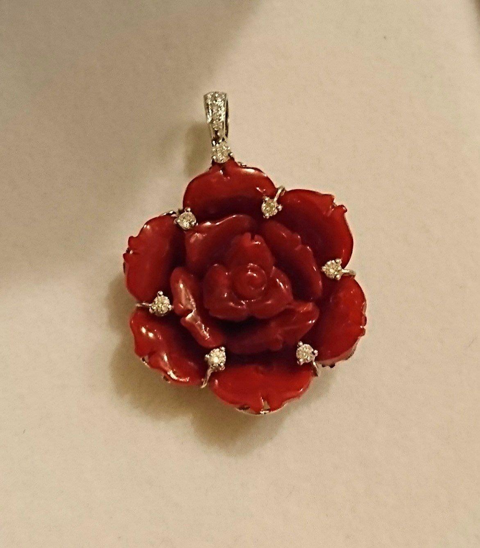 全新 稀有 天然 Aka級 紅珊瑚 永生紅玫瑰花 18K金 真鑽 手工鑲嵌 墜子 現貨一件 特價35000元
