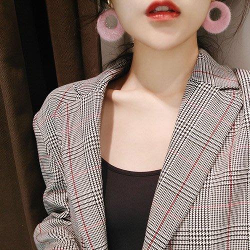 【小麼雜貨】日韓復古絨毛毛圈圈 耳環 耳針 4色(現貨)A033(401)下11/21