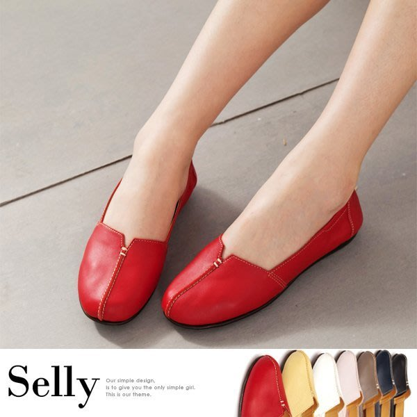 MIT系列-車縫簡約造型真皮娃娃便鞋-七色-Selly-沙粒-(MIT38)