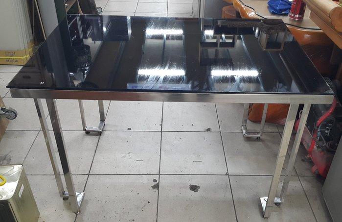 樂居二手家具 全新中古傢俱家電賣場 E0108CJ 黑色玻璃餐桌*洽談桌 吃飯桌 工作桌 會議桌 各式桌椅出清拍賣
