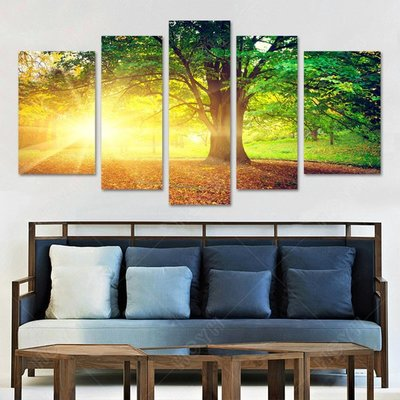 新中式客廳裝飾畫陽光草地樹林風景無框畫...