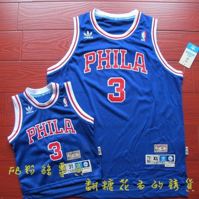 美國NBA官網費城76人 艾倫艾弗森 Allen Iverson 新秀年復古球衣正品BK青年版youth復古電繡網眼