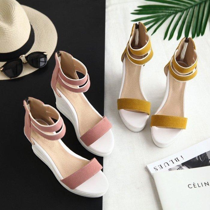 *鞋館Shoes hall*【C30601】人氣美姬~露趾一字楔型涼鞋~5色~(可訂作大尺碼)