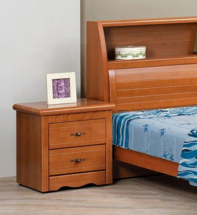 【DH】貨號AC4-3《玫斯娜》實木樟木色雙抽床頭櫃/床邊櫃(圖一)˙抽底實木板。台灣製沉穩設計˙質感一流˙主要地區免運