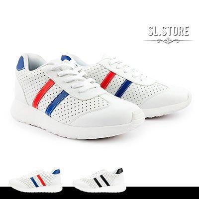SL Store【FRP67】MIT潮流雙線拼接透氣情侶慢跑鞋.藍紅/黑/JP23~28