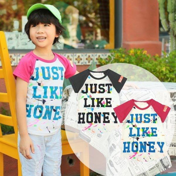 【班比納精品童裝】俏皮接袖粉色油漆英文T-白【BD150325016】
