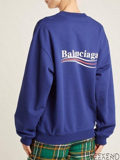 【WEEKEND】 BALENCIAGA 巴黎世家 Political Logo 上衣 衛衣 藍色