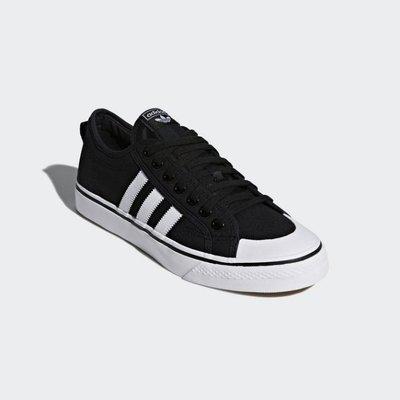 ADIDAS SCARPE NIZZA 愛迪達 黑白色 基本款 三條線 三葉草 帆布鞋 情侶鞋 CQ2332 YTS