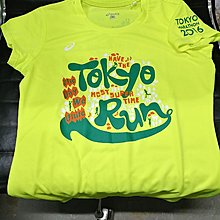 (現品一件免費平郵)女款 Asics tokyo 東京馬拉松可愛圖案記念tee螢光黃M