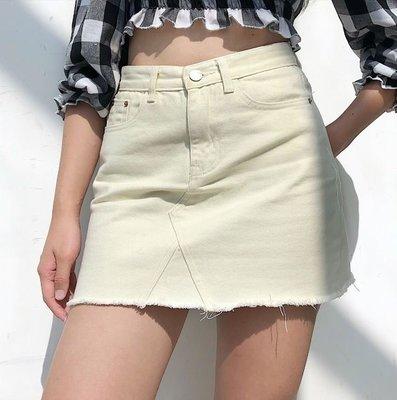 【黑店】基本款米白色牛仔高腰短裙 顯瘦高腰A字裙 百搭牛仔短裙 毛邊牛仔高腰短裙
