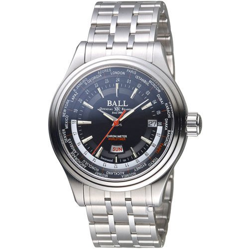 BALL波爾Trainmaster Worldtime天文台認證機械腕錶 GM2020D-S2CJ-BK