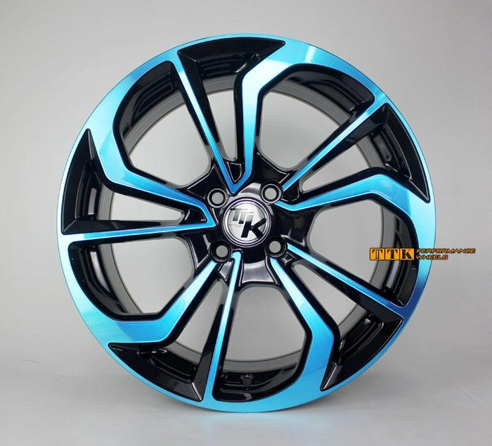 【美麗輪胎舘】2018 新款 特殊旋風鋁圈樣式 17吋 全車系適用 7.5J 黑底藍面