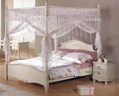 【DH】貨號G053-1《亞尼》5尺潔白烤漆公主床架˙含床簾˙四分板˙質感一流˙主要地區免運