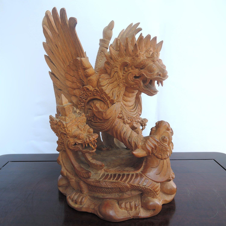 【九天坊─藝雕品】*正印度老山檀香木雕(黃肉)─印尼巴龍(獅子善神,優惠免運)*FA812