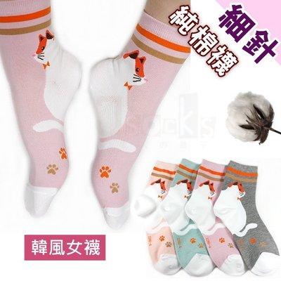 G-30-1大貓-韓風女短襪【大J襪庫】6雙組230元-可愛少女襪短襪-純棉質棉襪吸汗-隱形襪踝襪套學生襪-貓咪台灣製