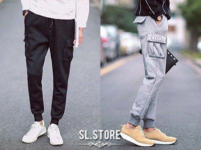 SL Store【SC55561】休閒徽章雙口袋拉繩縮口褲.黑/丈青/灰/M/L/XL