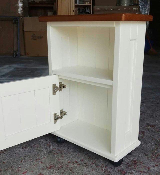 美生活館---鄉村家具訂製客製化 ---全原木 雙色 單隔 單門 活動收納櫃(附輪) 置物櫃 --可依尺寸與顏色再報價