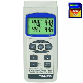 TECPEL 泰菱 》TM-947SD 四視窗溫度計 4點溫度記錄器 可接PT-100 多KTYE (SD卡另買)