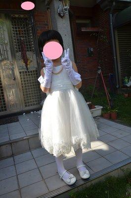 出租~女童白色典雅禮服 花童裝 畢業典禮服裝 整套租200元 含頭飾 全白禮服  長手套 項鍊 褲襪 白色淑女鞋
