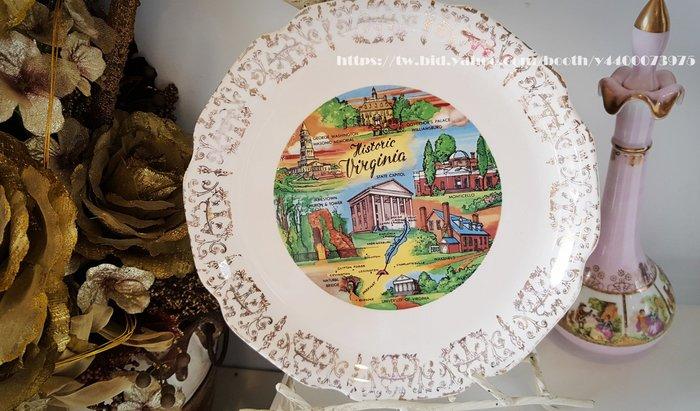 妍媽咪ㄉ西洋古董~ 美國 維吉尼亞歷史 紀念瓷盤~ Vintage 復古 珠寶
