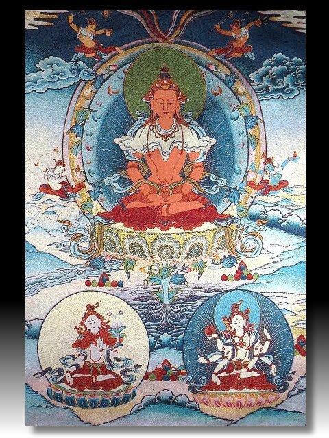 【 金王記拍寶網 】S1399  中國西藏藏密佛像刺繡唐卡 觀音 刺繡 (大張) 一張 完美罕見~