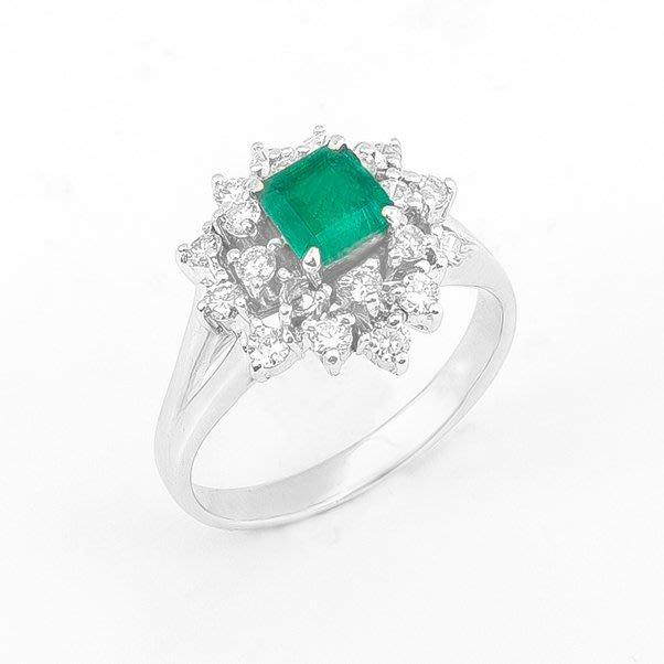 【JHT 金宏總珠寶/GIA鑽石專賣】天然祖母綠鑽戒/材質:18K(E00012)