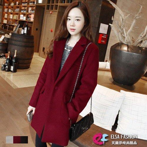 西裝外套 氣質純色修身保暖毛呢中長版一粒釦外套 艾爾莎【TAE2584】