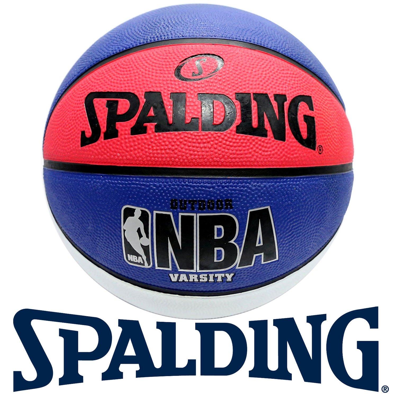 鞋大王SPALDING SPA-83275 白×藍×紅 橡膠材質標準籃球(七號球)【免運費】