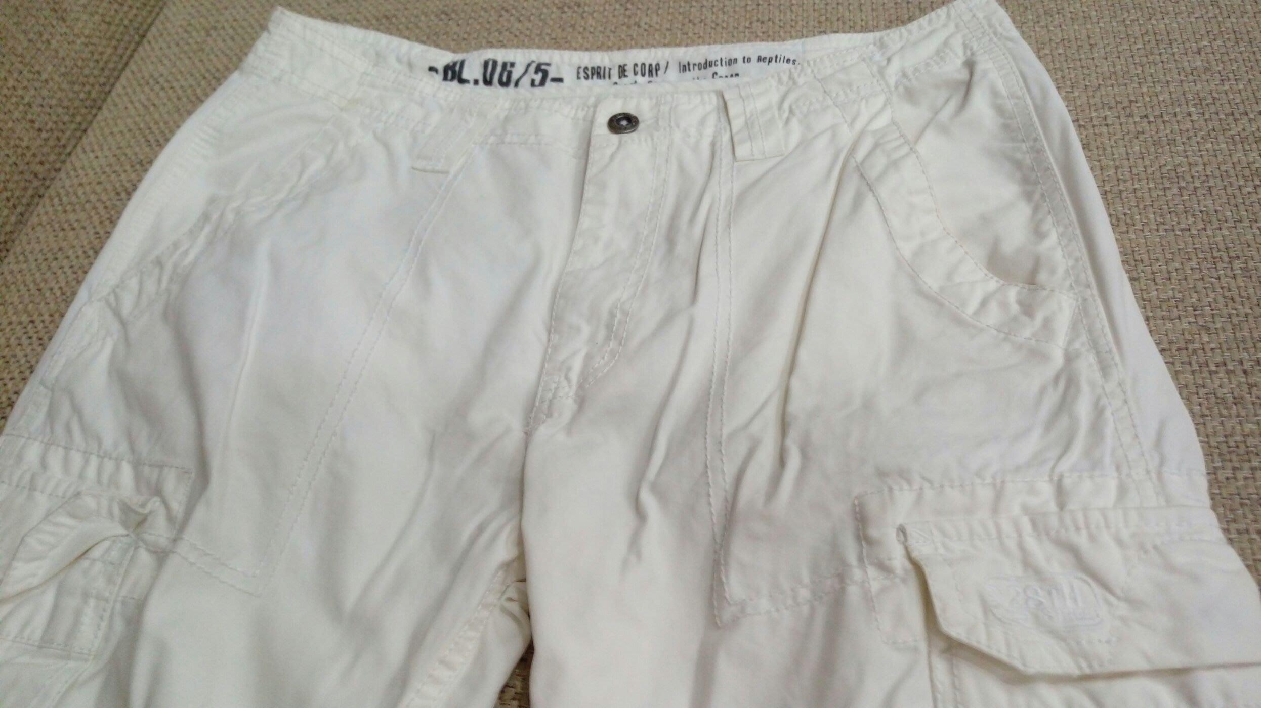香港Espirit 白色米白色 多口袋休閒長褲 工作長褲 33 34 A&F AE UA 可參考