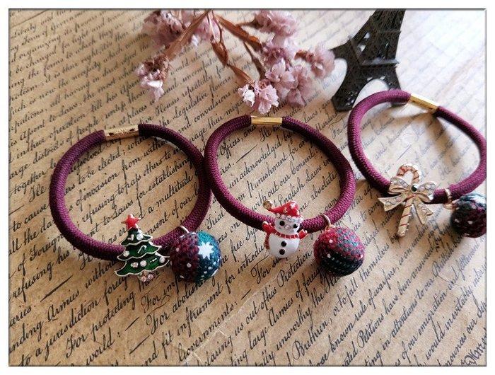 玫瑰森林-- ☆°*美麗嚴選~冬X'mas 甜美款 聖誕風格 可愛吊墜小布球髮繩/ 髮束 (可當手環)