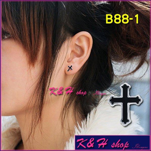K  H shop 共2色.黑色.藍色.十字架 款耳環.中性男女皆 .抗過敏925純銀耳針