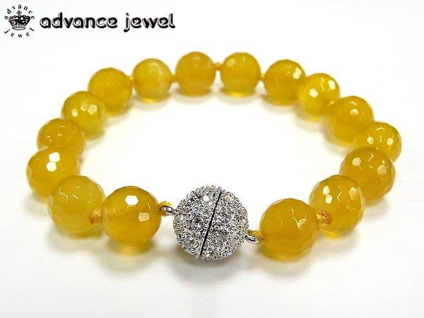 【寶峻水晶】絢麗多彩,瑪瑙手工角度珠手鍊/手珠,bling磁性水鑽扣環MC(10mm),共10色