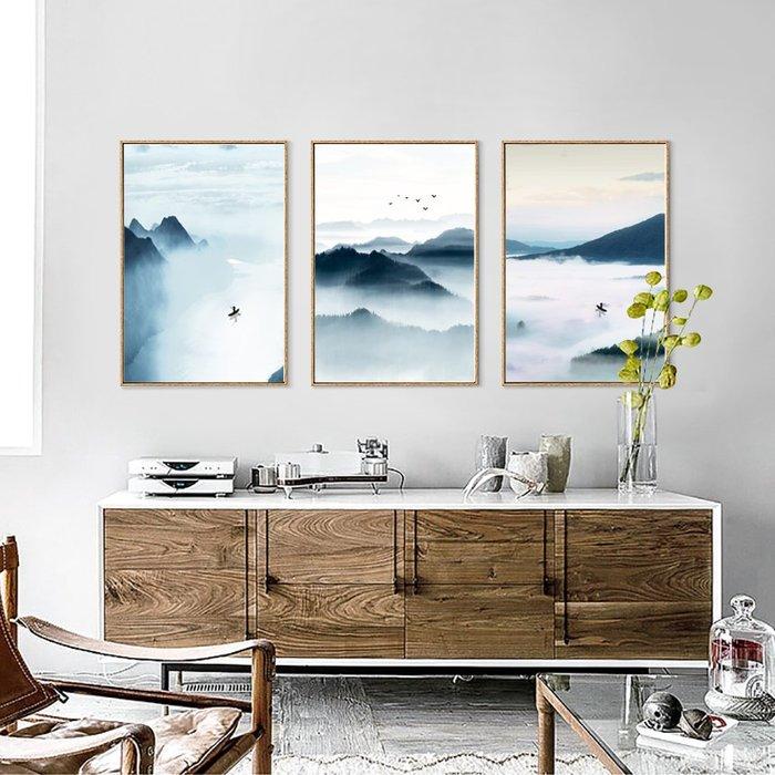 新中式意境山水小船裝飾畫畫芯畫布高清微噴客廳壁畫(3款可選)