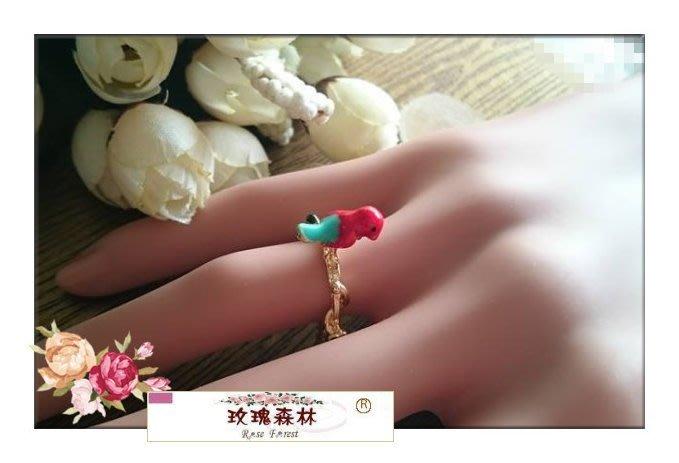 玫瑰森林-- ☆° 精緻嚴選~文藝森林系女孩 可愛  紅色釉彩小鳥兒 戒指 (特價)