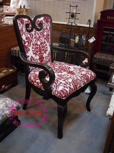 美生活館---  新古典  凱撒 實木紅白圖騰布花 主人椅/辦公椅/房間椅/化妝椅/書桌椅/洽談椅