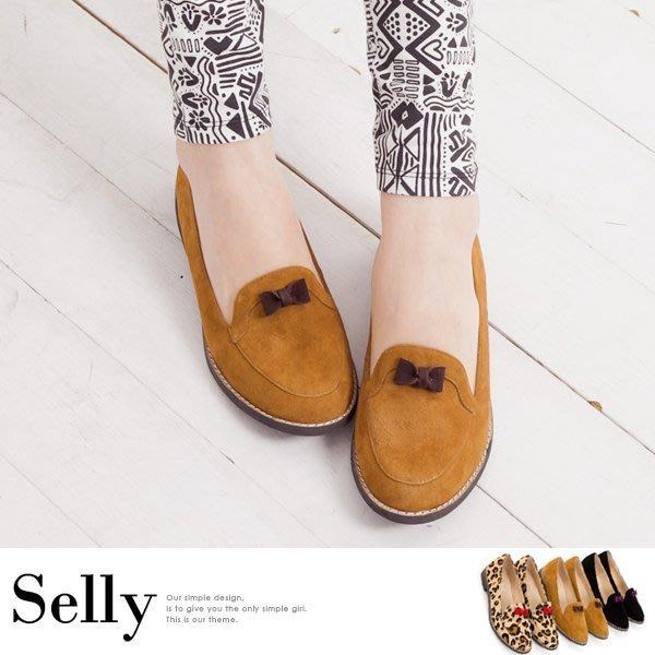 俏皮Loafer‧mini撞色小蝴蝶結馬毛牛津便鞋-3色-Selly-沙粒-(SH001)