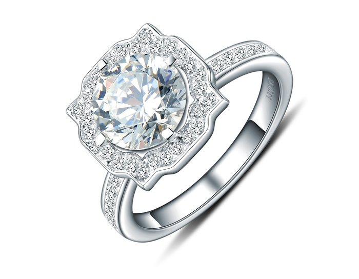 歐美專櫃純銀戒指 高檔微鑲飾品 2克拉高碳鉆石 定制鉑金18K純銀戒指 高碳仿真鑽石  FOREVER鑽寶