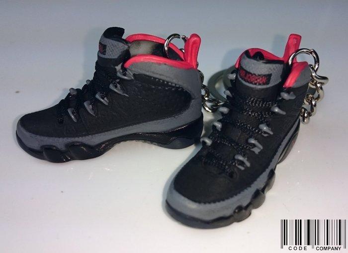 CodE  AIR JORDAN 9 小鞋模型鑰匙圈 黑灰 .RETRO.吊飾.NIKE.