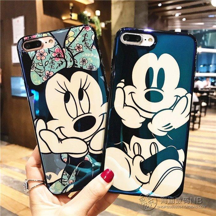 迪士尼日韓卡通藍光米奇米妮iPhoneX iphone7 8 Plus蘋果6plus掛繩矽