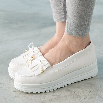 Ovan 女款 韓系流蘇厚底莫卡辛 厚底鞋 鬆糕鞋 MIT製造 白色